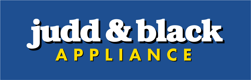 Blue background with text Judd & Black in white and Appliance in yellow